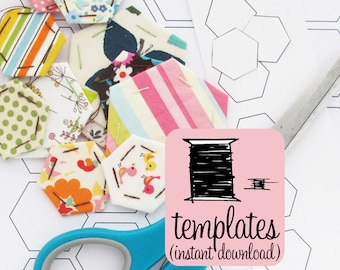Hexagon Paper Pieces PDF Document | Print your own English paper piecing hexagons in seven sizes with this instant download pdf document.