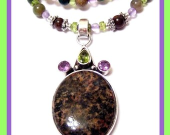 Fancy Jasper Agate Sterling Silver Pendant Necklace Bracelet and Earrings Set Signature Design