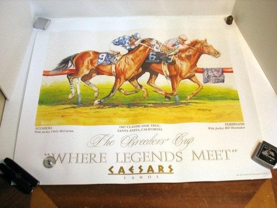 1987 The Breeders Cup Poster Signed Delgado, Ferdinand Shoemaker, Alysheba McCarron Horse Race Racehorse