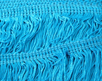 """Turquoise Blue Chainette Fringe 12"""" Trim, Dance Costumes, Decorating, Tassel Trim, Sewing Trim, Costume Trim, Supplies, By the Yard"""