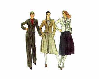 1980s Misses Jacket Skirt Pants Vogue 7893 Vintage Sewing Pattern Size 10 Bust 32 1/2 UNCUT