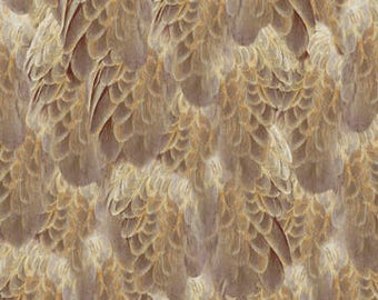 Eagle Fabric Majestic Eagle Taupe Feathers Fabric From Quilting Treasures 100% Cotton