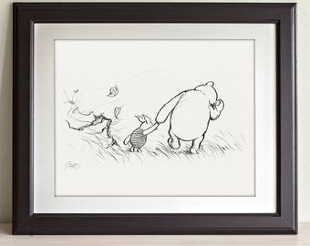 Blustery Day - Winnie the Pooh and Piglet 11x14 Unframed Nursery Art Print