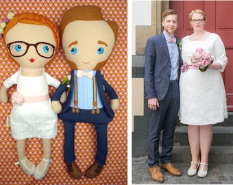 Mini Me, personalized wedding dolls, custom wedding couple handmade