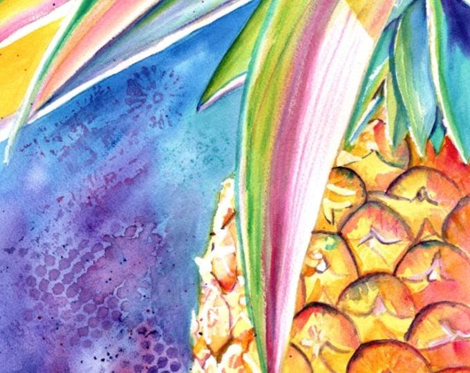 Pineapple Watercolor, Original Pineapple Art, Tropical Fruit, Kauai Art, Original Hawaiian Painting,  Colorful Pineapples, Hawaii Decor