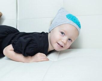 Headbon - Baby/Toddler Grey Headband with Blue Embellishments