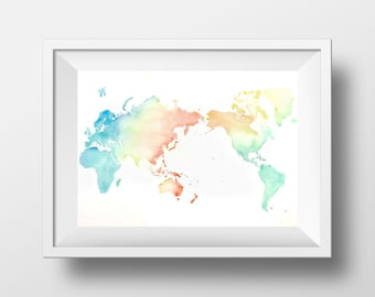 """World Map Watercolor - Original Painting - Made to Order - 22x30"""" - Customize Color and/or Size - Wall Art"""