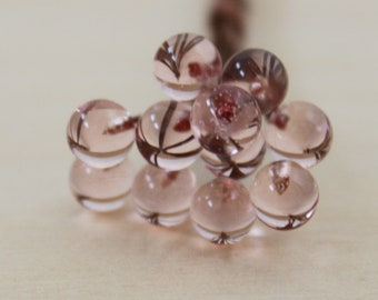 10 balls 4 mm, lampwork headpins, copper, pink, yellow