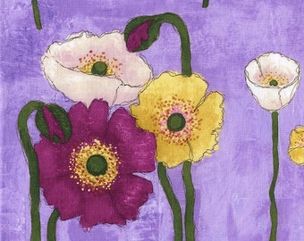 Michael Miller Fabrics Gathered Poppies in Orchid 1/2 Yard from the Laura Gunn Vignette Collection