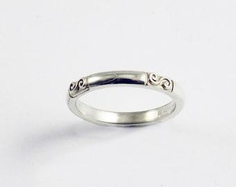 White Gold Celtic Traditional Irish Spiral Ring
