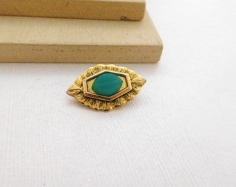 Vintage Freirich Small Green Glass Gold Tone Lapel Pin Brooch E38