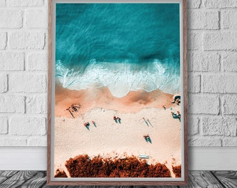 Aerial Beach Photography, Digital Download, Printable Wall Art, Modern Beach Decor, Beach Wall Art, Ocean Print, Boys Room Decor,
