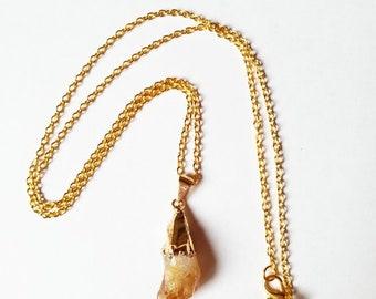 Raw Crystal Neckalce | Raw Citrine Necklace | Statement Jewelry | Raw Stone Jewelry | Healing Crystals