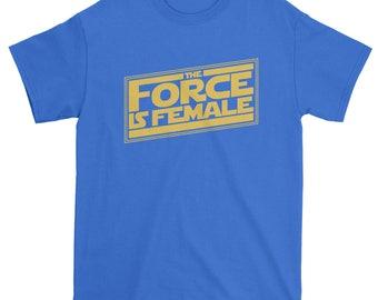 FerociTees The Force is Female Feminist Star Warship Men's T-Shirt