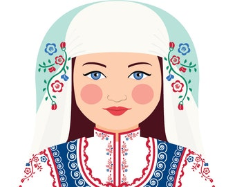 Bulgarian Wall Art Print features cultural traditional dress drawn in a Russian matryoshka nesting doll shape