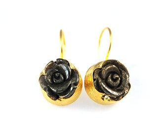 Golden Rose Earrings with pyrite stones carved as roses, sterling silver coated in gold, gold flower earrings, pyrite stone, gold rose