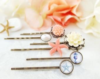 Starfish Bobby Pin - Beach Wedding Hair Pins - Seahorse Hair Clip - Peach Bobby Pin Set Decorative - Pearl Bridal Hair Accessory H4036
