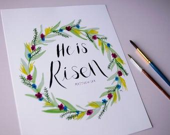 He Is Risen Easter Floral Wreath Watercolor Wall Art 8x10 Print Scripture Verse