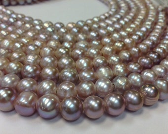 15.5 inch 10 to 11 mm Large Hole Freshwater Pearl Round Beads - Blush / Mauve Pearl 3 mm hole (G3946B82-BHB)