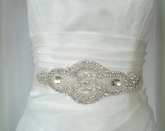 Bridal sash, wedding sash, rhinestone applique sash, bridesmaid sash, wedding belt, bridal dress belt, crystal sash, satin ribbon sash