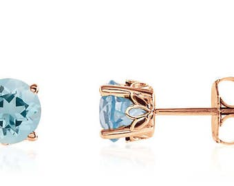 14K Rose Gold Genuine Blue Aquamarine Gemstone Stud Earrings - 1.25ct - 6mm Round - March Birthstone - AAAA Top Quality - Gift for Her