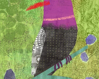 "Collaged Bird Magenta - 8""x10"" Archival Print - art poster - wall decor"