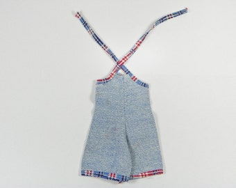 Vintage Doll Denim Jumper Overalls - Suspenders Straps - Red White Blue Trim - Metal Snaps - Halter Tie