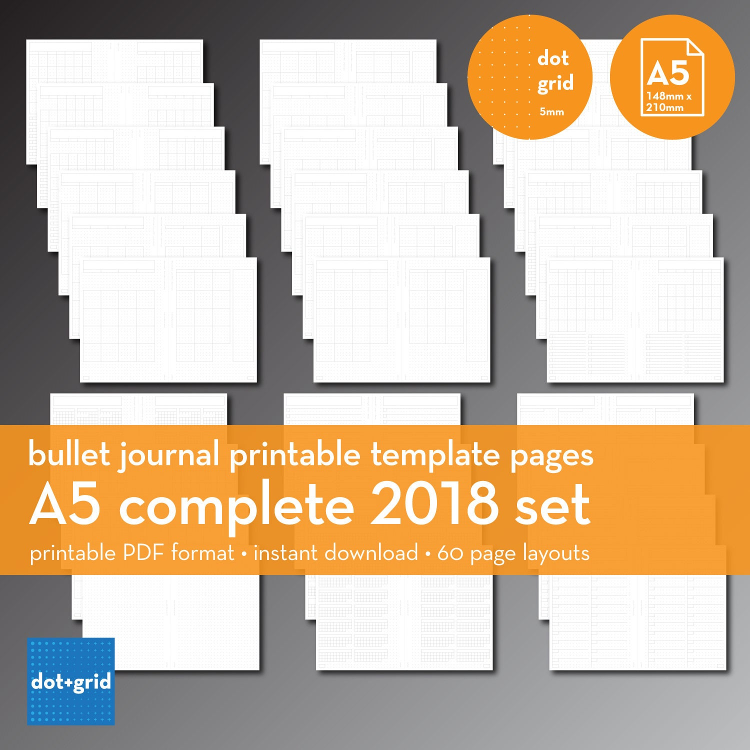 A5 Complete 2018 Set Bullet Journal Printable Templates
