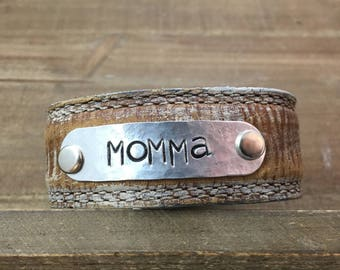 Stamped Leather Cuff-Momma-Word Cuff-