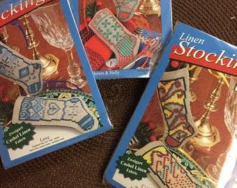 "Linen Stockings  Counted Cross Stitch Kits Choice of Three Kits 4"" Stockings"