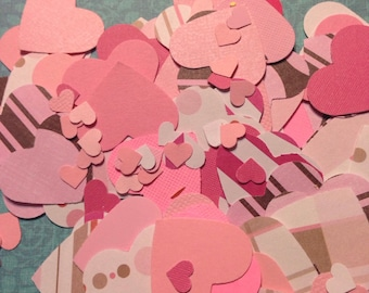 Shades of Pink Heart Confetti Table Scatter Die Cuts Lot 2