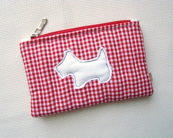 quilted zipper pouch, zipper pouch, quilted pouch, red and white pouch, cosmetic bag, organizer, applique, dog applique, recycled fabric