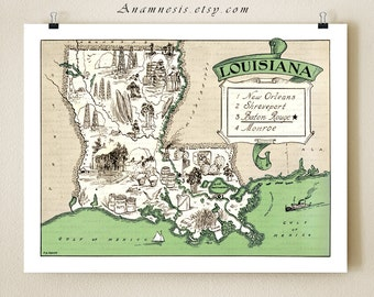 LOUISIANA MAP PRINT - vintage pictorial map wall decor - size & color choices - personalize it - perfect gift idea for many occasions