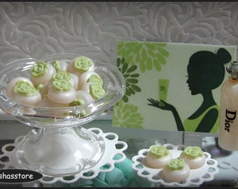 Dollhouse miniature soaps with green rose, 3 pieces of soap