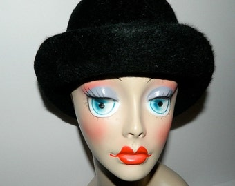 """Vintage Ladies Humphry's London Black Fur Felt Derby Bowler Hat 21"""""""