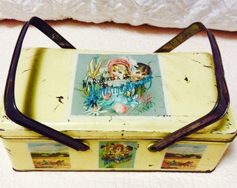 Rare Antique Wm Roberts Harvesting Machinery Tin 1940s Farm Lunch Box Handles Yellow