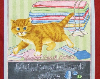 "2 Panels - RJR ""Purrfect Notions"" Cats Sayings Sewing Theme  Fabric Panels 10 1/2""x 11"" Each Set #D"