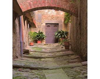 "Fine Art Color Travel Photography of Tuscany - ""Alley in Cortona"" - Vertical or Square"