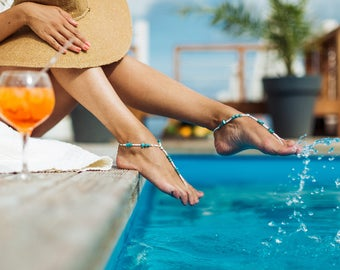 Malie Turquoise barefoot sandals, Boho Jewelry Barefoot sandal, Turquoise gemstone jewelry, Beach wedding shoes, Bridesmaid gift idea