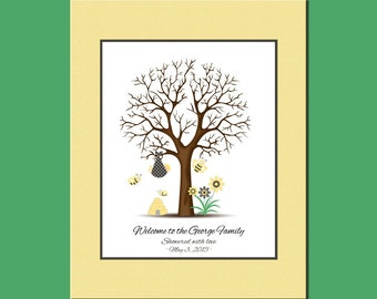 Shower Thumbprint Tree with Faux Matte, Bumblebee Baby Shower Thumbprint Tree, Baby Shower Guestbook, Honeybee Guestbook Thumbprint Tree