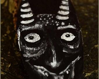 Krampus Gargoyle daemon - original painting on wood - pendant or mini wall art