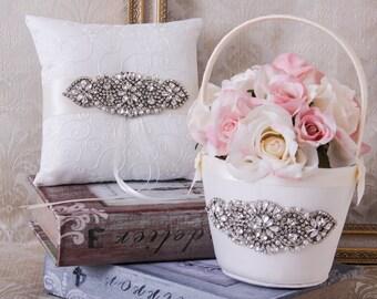 Ring Bearer Pillow, Flower Girl Basket, Rhinestone Wedding Basket and Pillow Set, Rhinestone Ring Pillow, Rhinestone Flower girl Basket