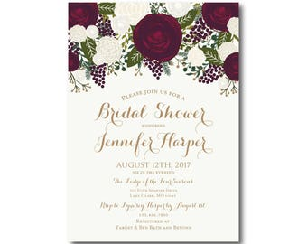 Vintage Bridal Shower Invitation Fall Wedding Vintage Floral Floral Wedding Vintage Wedding Printed Bridal Shower Invitation #CL158