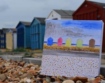 Water colour, canvas, 'The beach huts'