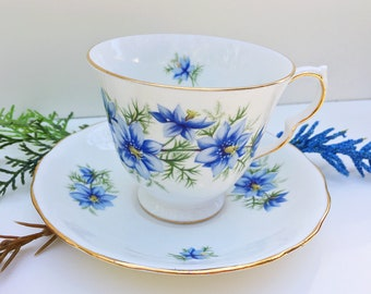 Queen Anne Tea Cup and saucer Blue Flower Pattern 7878