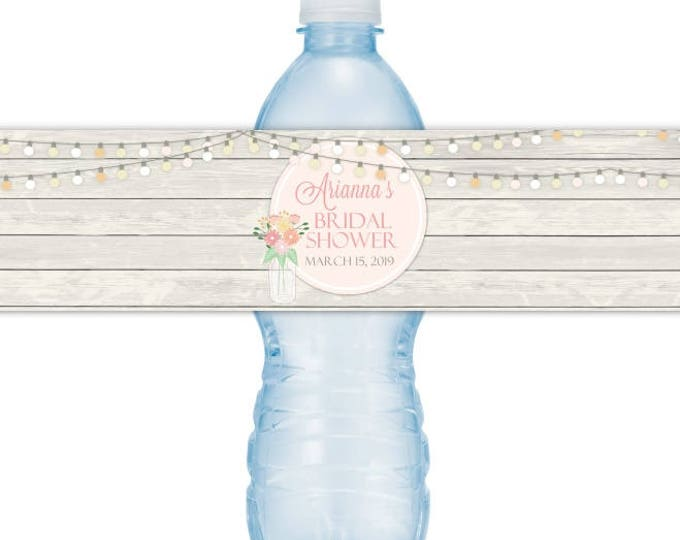 CUSTOM Printable Water Bottle Labels, Mason Jar Bridal Shower, CUSTOMIZED for you, you print, you cut, DIY water bottle labels