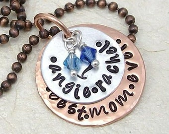 Best Mom Ever Hand Stamped Personalized Necklace in Copper And Bright Aluminum