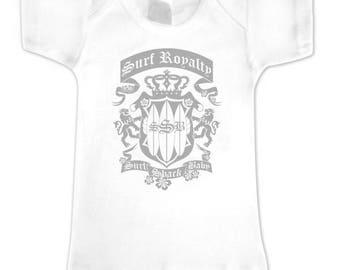 Surf Royalty White Infant Tee-Infant Clothing-Baby Surf-Infant Tops-Surfer Baby-Surf Baby-Baby Surfer-Infant Surf-Surfer Baby Shower