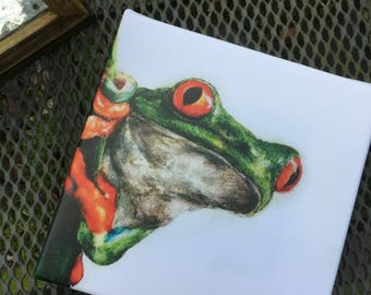 CANVAS PRINT - cute handpainted treefrog printed on canvas