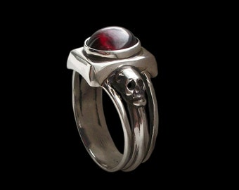 Skull engagement ring - Sterling Silver Dark Gothic Skull Engagement Ring with Red Garnet - Love to Death Ring -  ALL SIZES